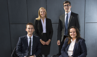 Newly Qualified Solicitors - Front to Back, Tom Clarke, Rebecca Weir (seated), Sophie Allinson and Jeremy Nash (standing)
